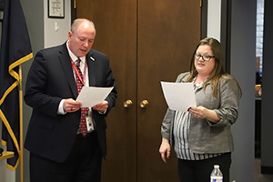 This is an image of Robin Richards being sworn in as Ralston's new school board member.