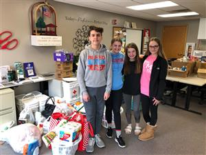 Image of students after donating items