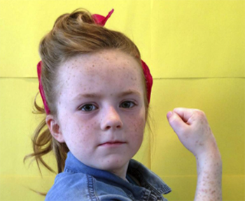 "Meadows Elementary Student recreates ""Rosie the Riveter"" by Norman Rockwell for an art project."